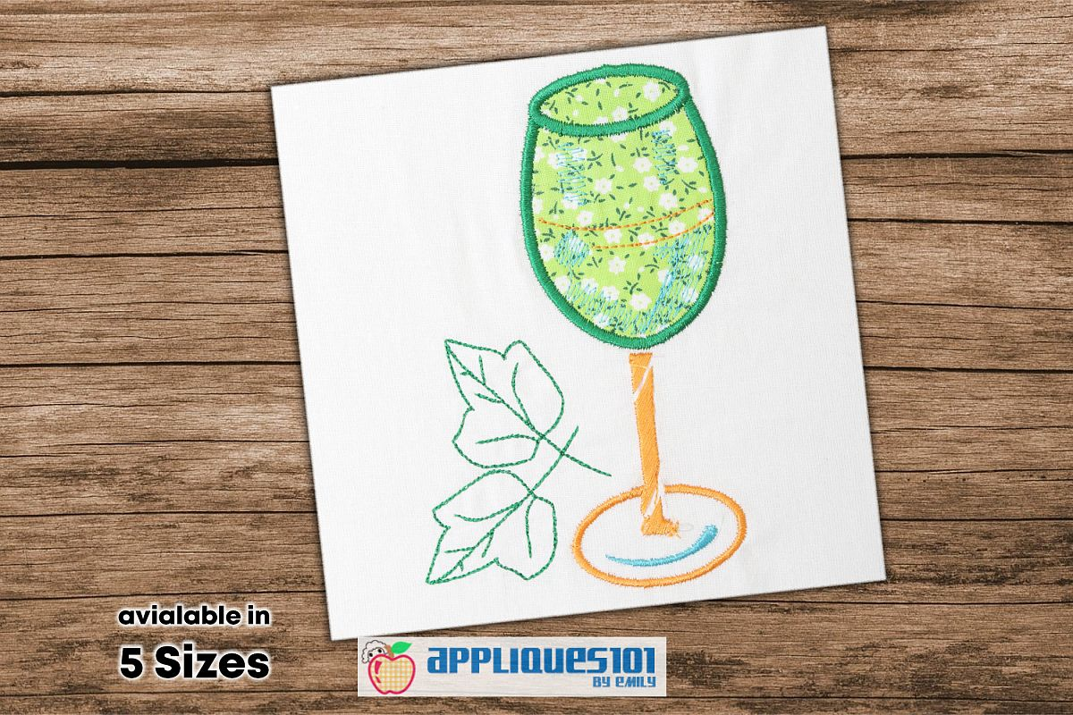 Wine Glass Embroidery Applique Design - Glasses example image 1