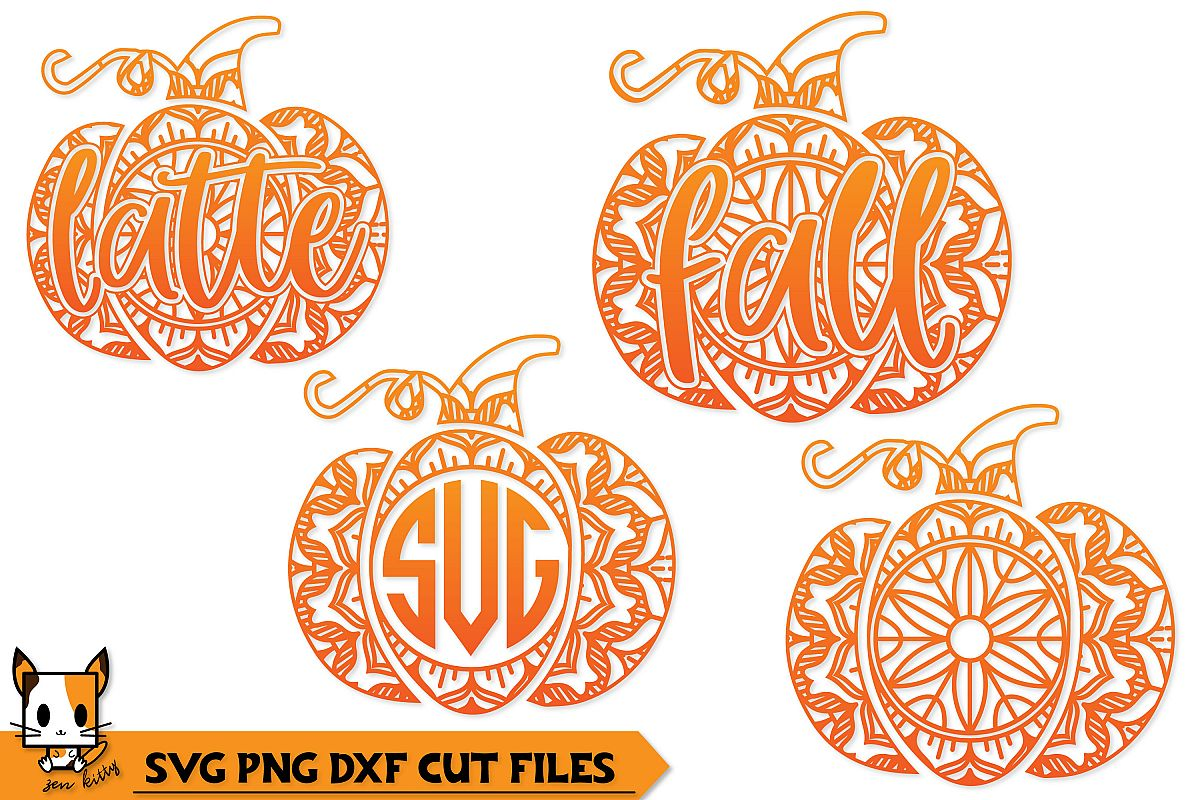 Pumpkin Mandala Monogram Set - Fall SVG PNG DXF Cut Files example image 1