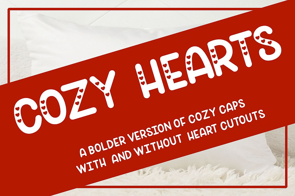 Cozy Hearts Font - A bolder version of Cozy Caps with hearts example image 1