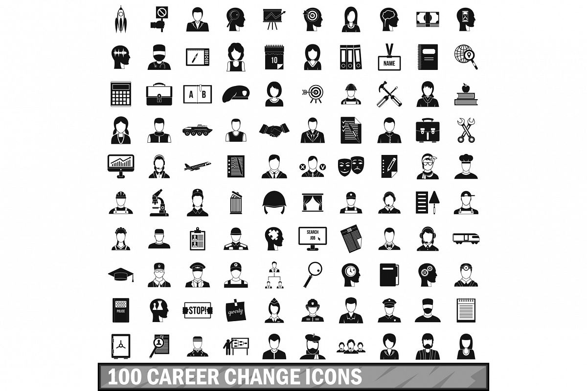 100 career change icons set, simple style example image 1