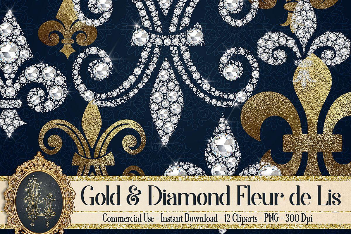 12 Gold And Diamond Fleur De Lis Royal Design Bundles