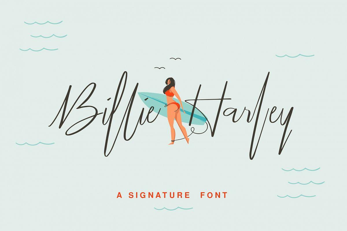 Billie Harley Signature Font example image 1