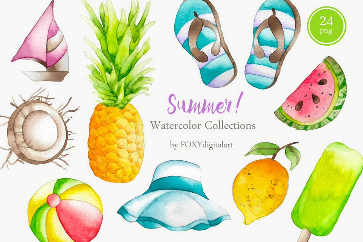 Summer watercolor. Holiday tropical island clipart
