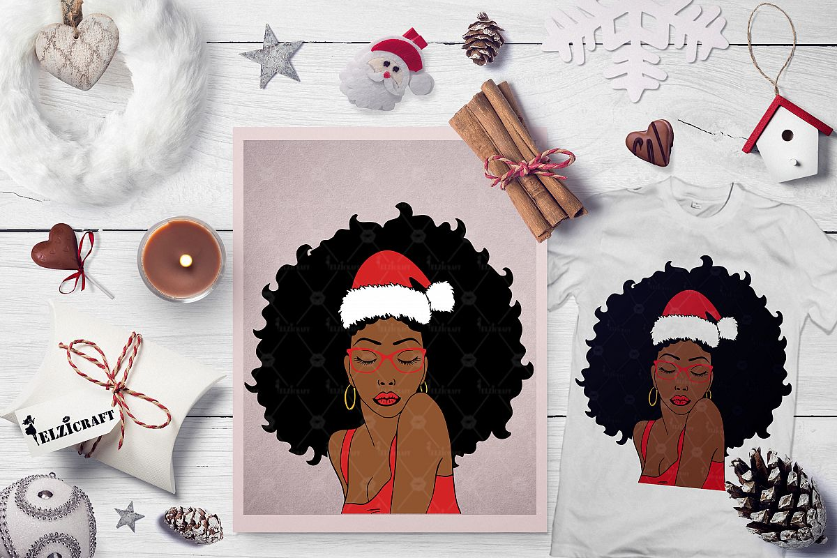 Christmas Afro Woman Santa Hat Melanin Poppin SVG Cut File example image 1