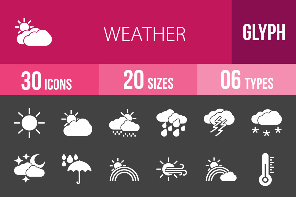30 Weather Glyph Inverted Icons example image 1