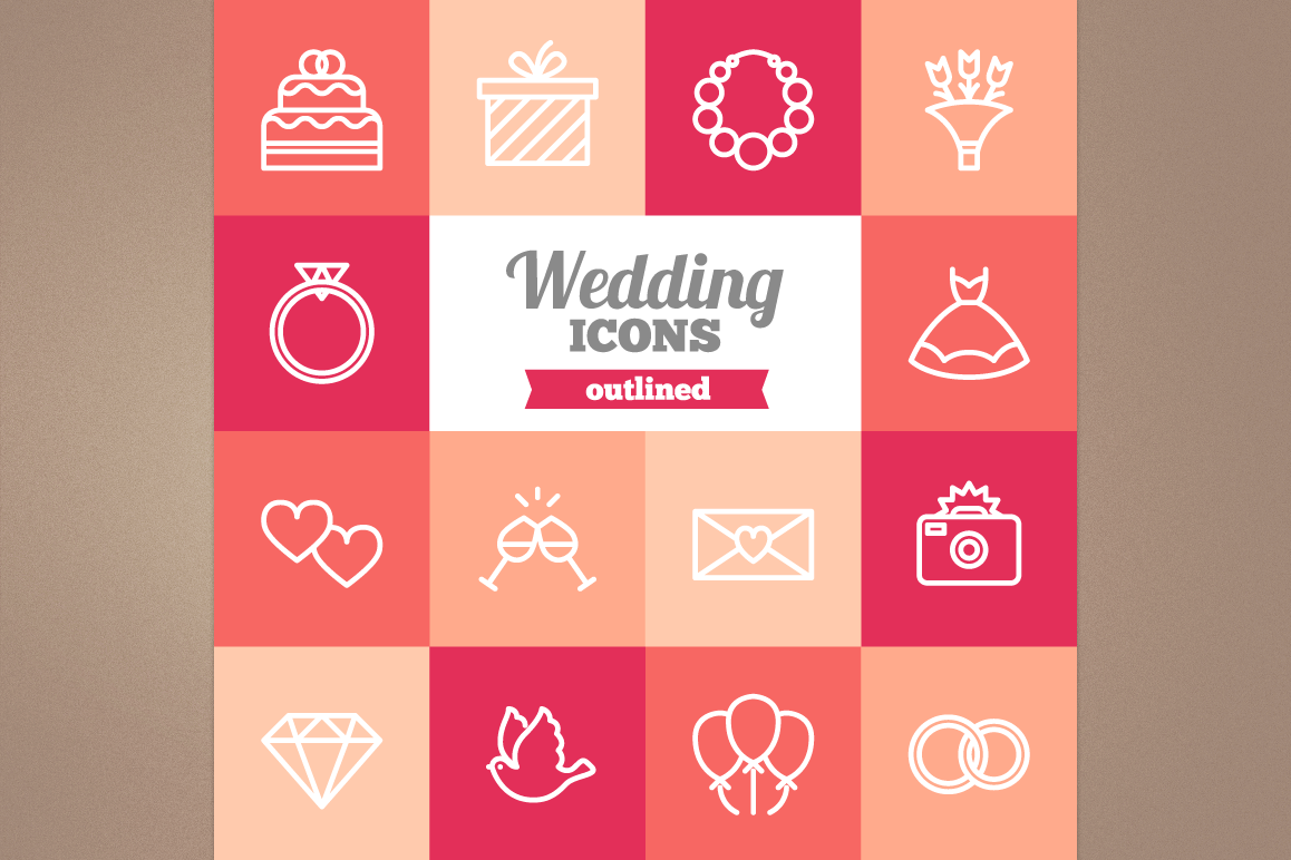 Outlined Wedding Icons example image 1