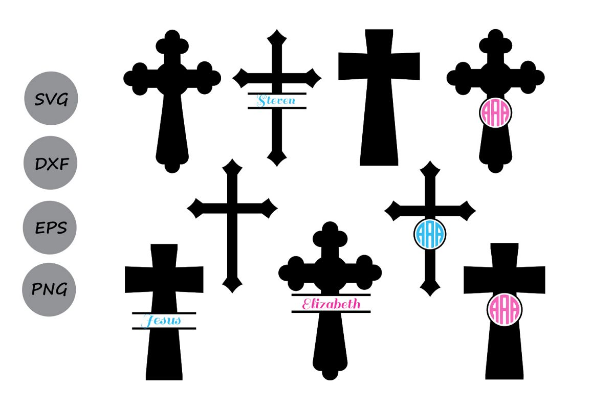 Cross svg silhouette, Christian Cross SVG Cut Files, cross monogram ...
