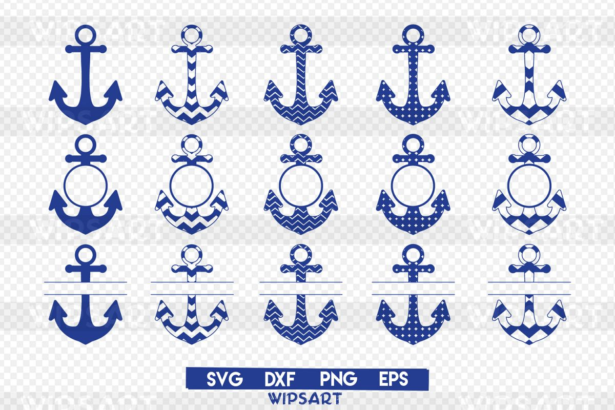 SALE! Anchor pattern svg, anchors monogram svg, anchors png example image 1