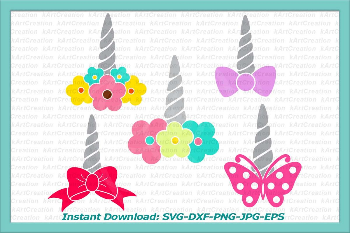 Unicorn horn elements bundle clipart svg cutting files example image