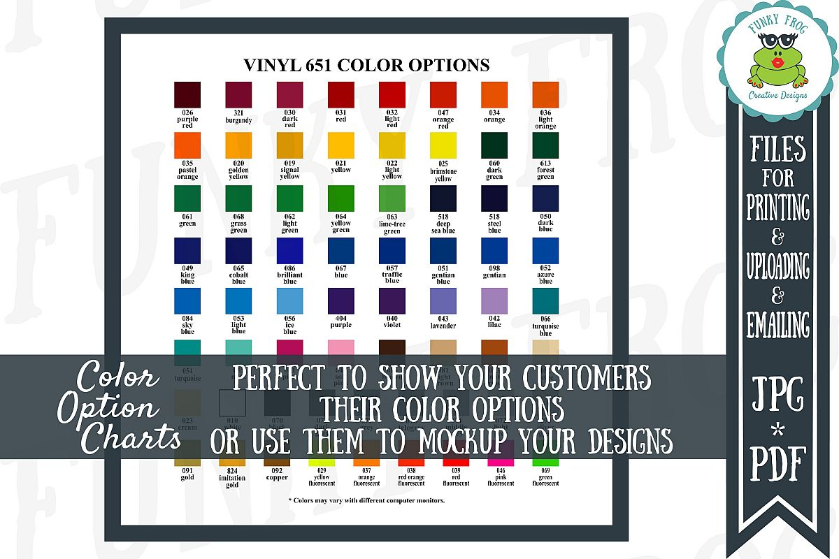 Oracal 651 Vinyl Color Options Chart Example Image 1