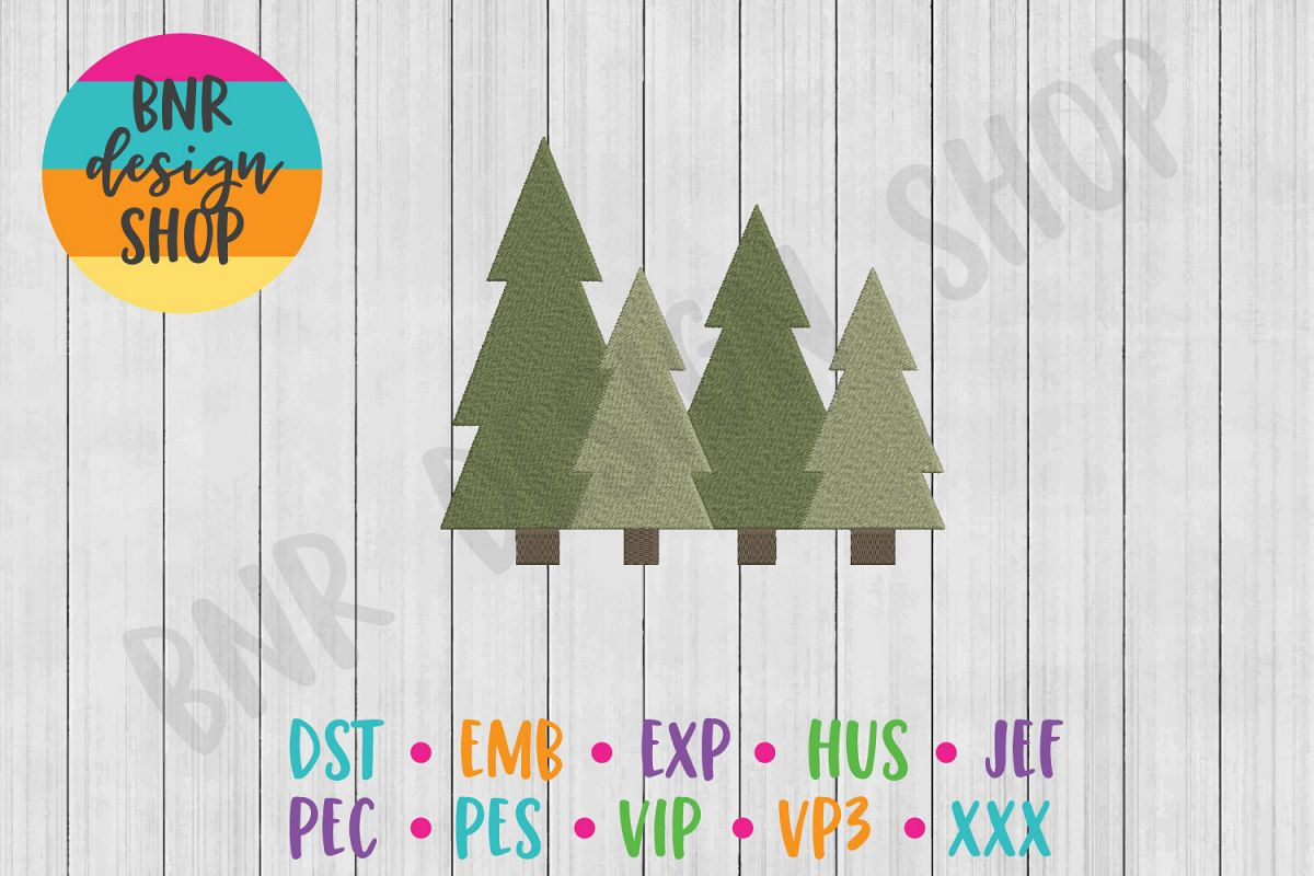 Camping Machine Embroidery Design, Trees Embroidery example image 1