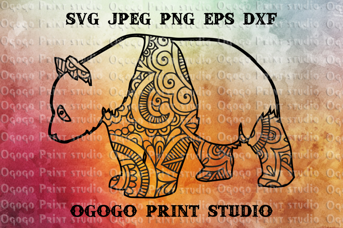 Mandala style Panda SVG, Zentangle SVG, Mom Bear svg, Mama example image 1