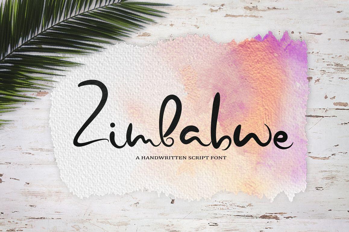 Zimbabwe. A handwritten script font example image 1