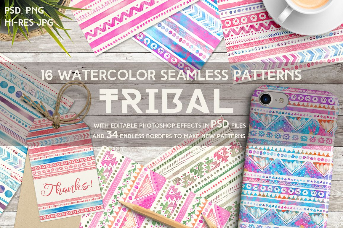 Tribal Watercolor Seamless Patterns example image 1