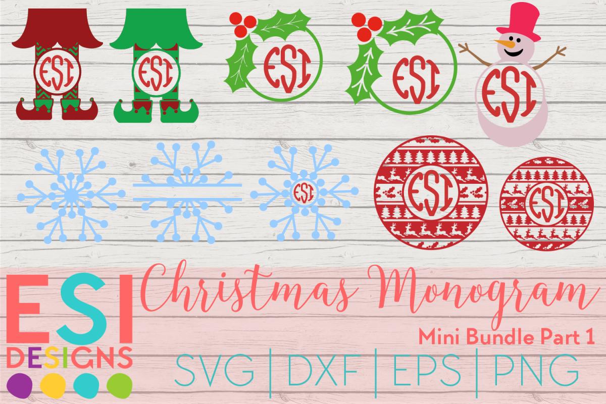 Christmas Monogram Design Mini Bundle Part 1 SVG DXF EPS PNG example image 1