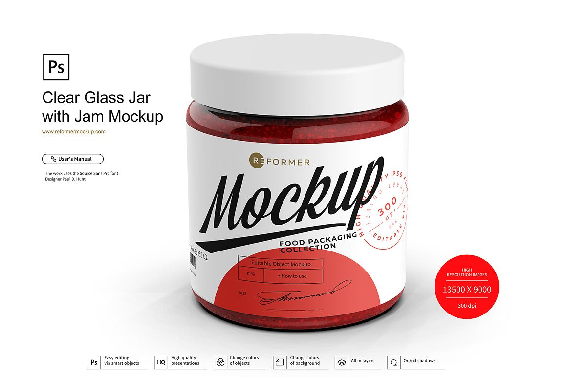 Clear Glass Jar with Jam Mockup example image 1