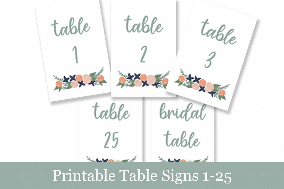 image about Wedding Signs Printable identify Coral Floral Desk Figures, Printable Wedding ceremony Indicators