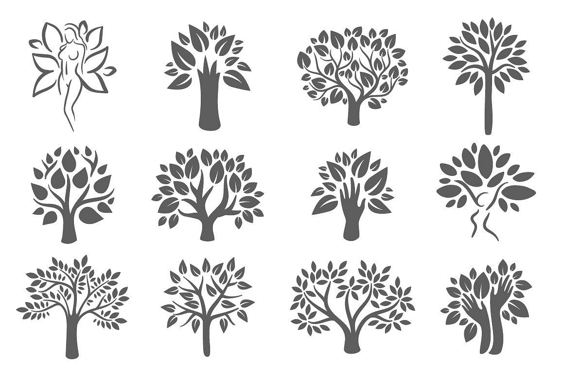 Tree logo illustration icon set example image 1