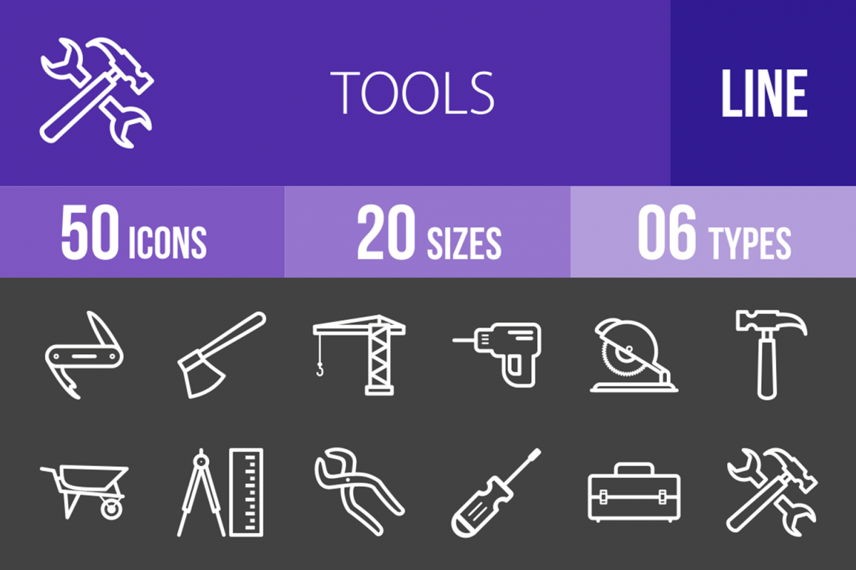 50 Tools Line Inverted Icons example image 1