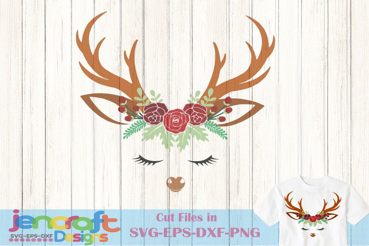 Deer SVG - Christmas SVG Reindeer Face Floral Antlers example image 1
