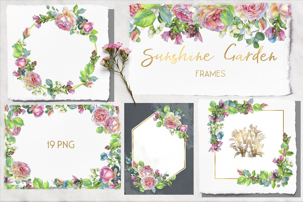 Pink rose watercolor wedding clip art, floral frame clipart example image 1