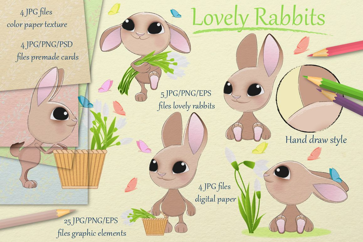 Lovely rabbits collection example image 1