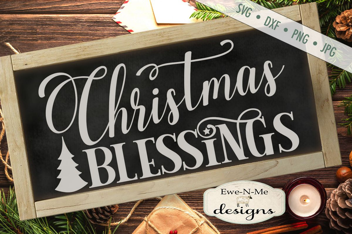 Christmas Blessings - Tree - SVG DXF Files example image 1
