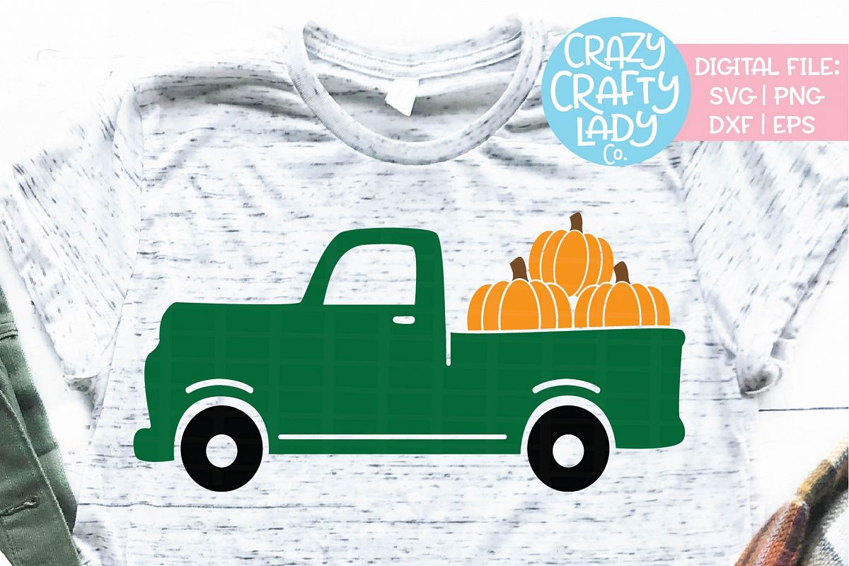 Fall Pumpkin Truck SVG DXF EPS PNG Cut File example image 1