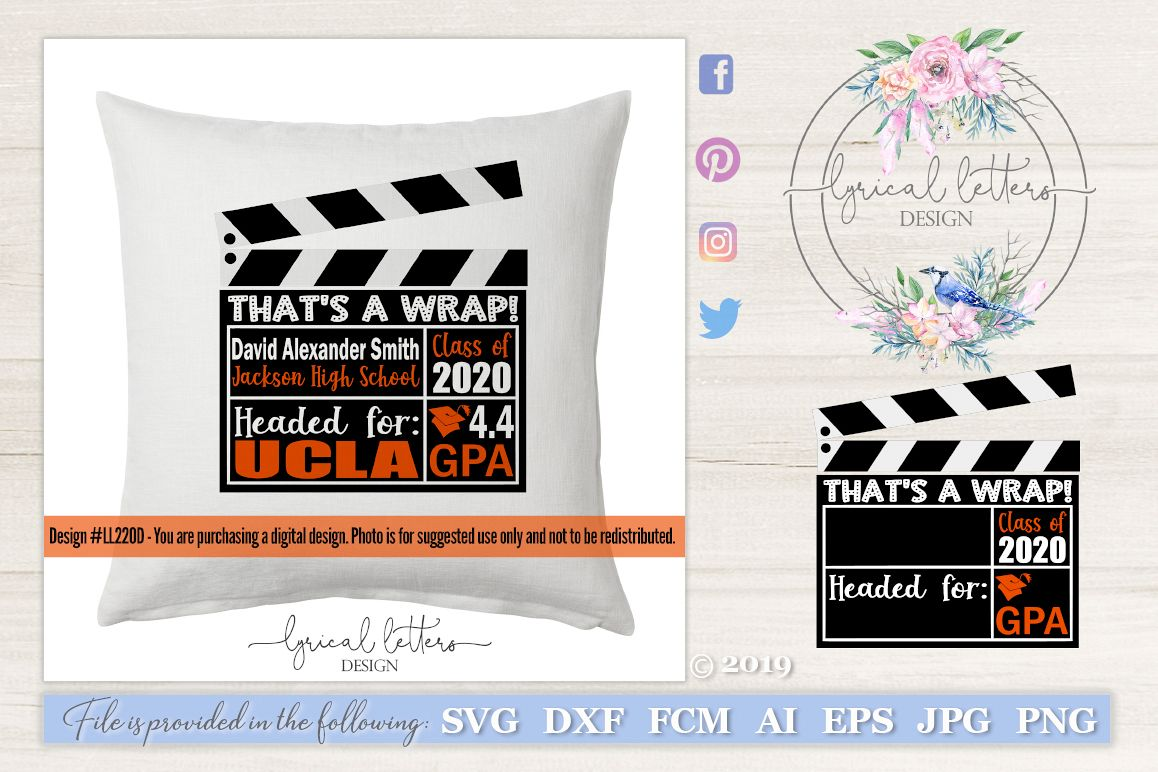 Class of 2020 Theater That's a Wrap Graduation SVG LL220D example image 1