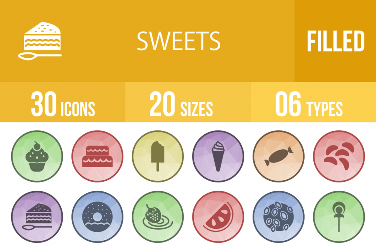 30 Sweets & Confectionery Filled Low Poly Icons example image 1