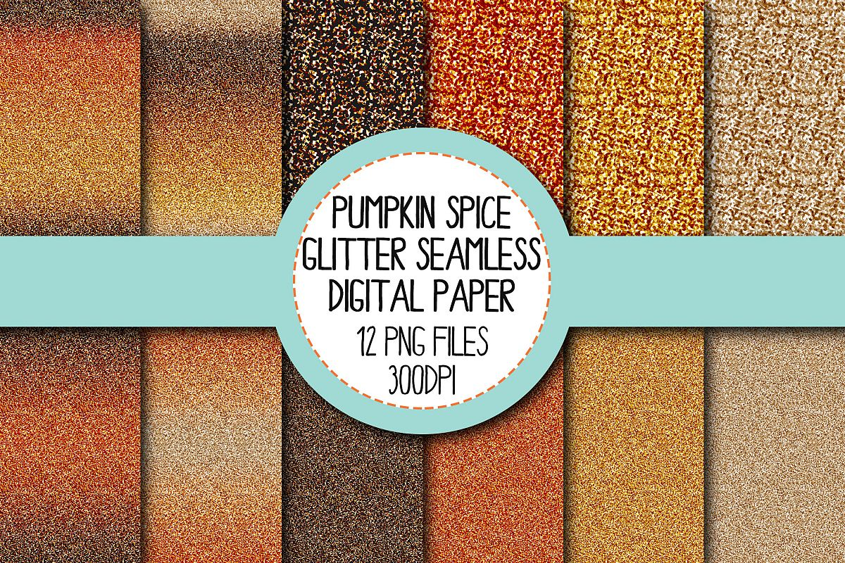 Pumpkin Spice Glitter Seamless Digital Papers Set 1 example image 1