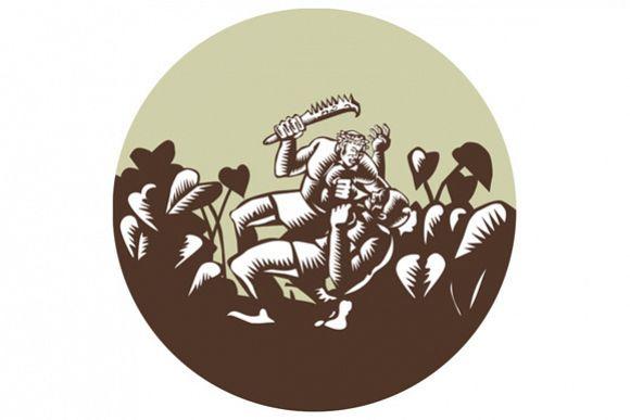 Samoan Losi Club Nifo'oti Weapon Circle Woodcut example image 1