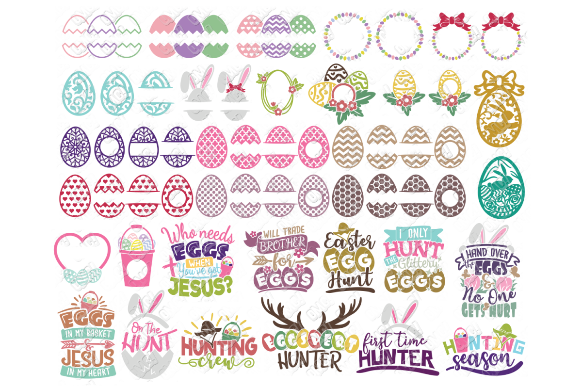 Easter Egg SVG Monogram Quotes in SVG, DXF, PNG, EPS, JPEG example image 1