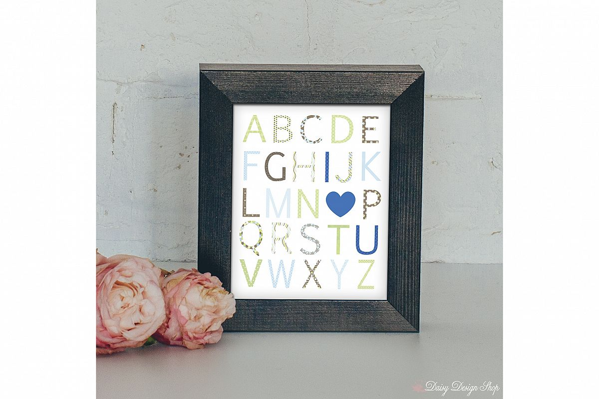 Art Print - Alphabet I Love You - Brown Blue and Green - Nursery or Home 8x10 Printable example image 1