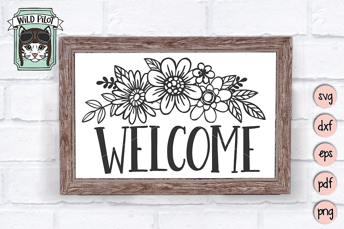 Welcome Sign SVG file, Floral Welcome, Flower Welcome sign example image 1