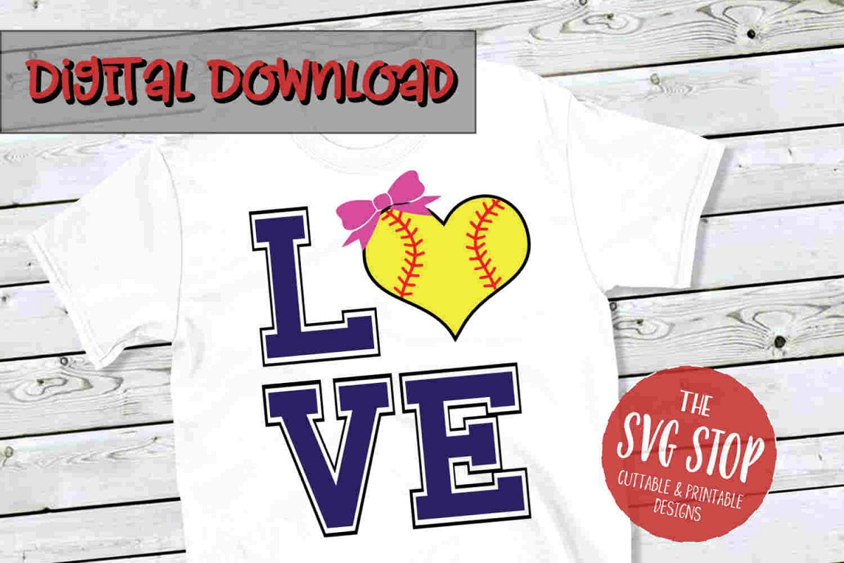 Love Softball 2-SVG, PNG, DXF example image 1