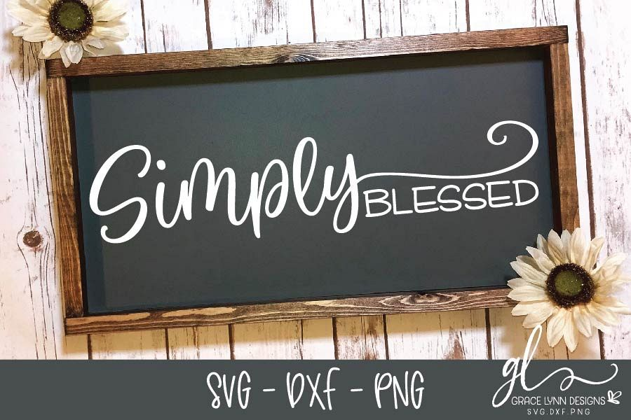 Simply Blessed - SVG Cut File - SVG, DXF & PNG example image 1