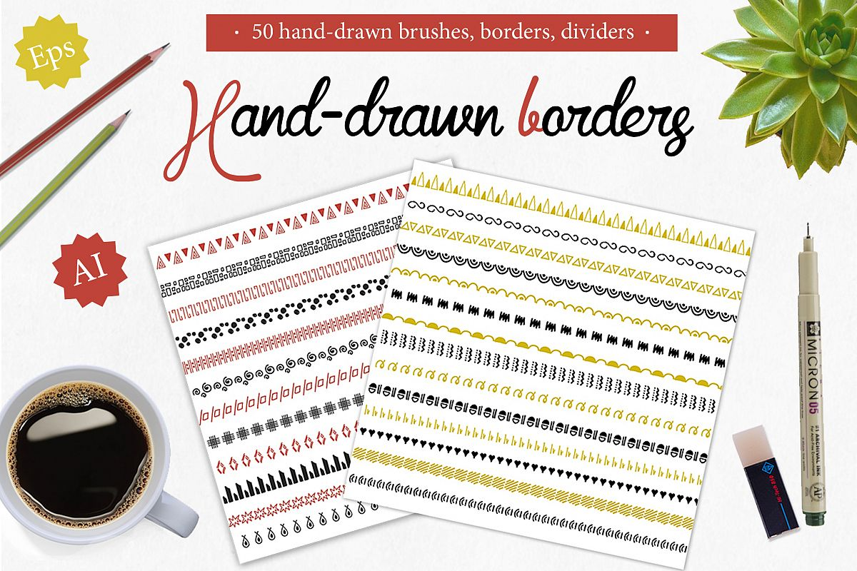 50 Borders, dividers, frames,brushes example image 1