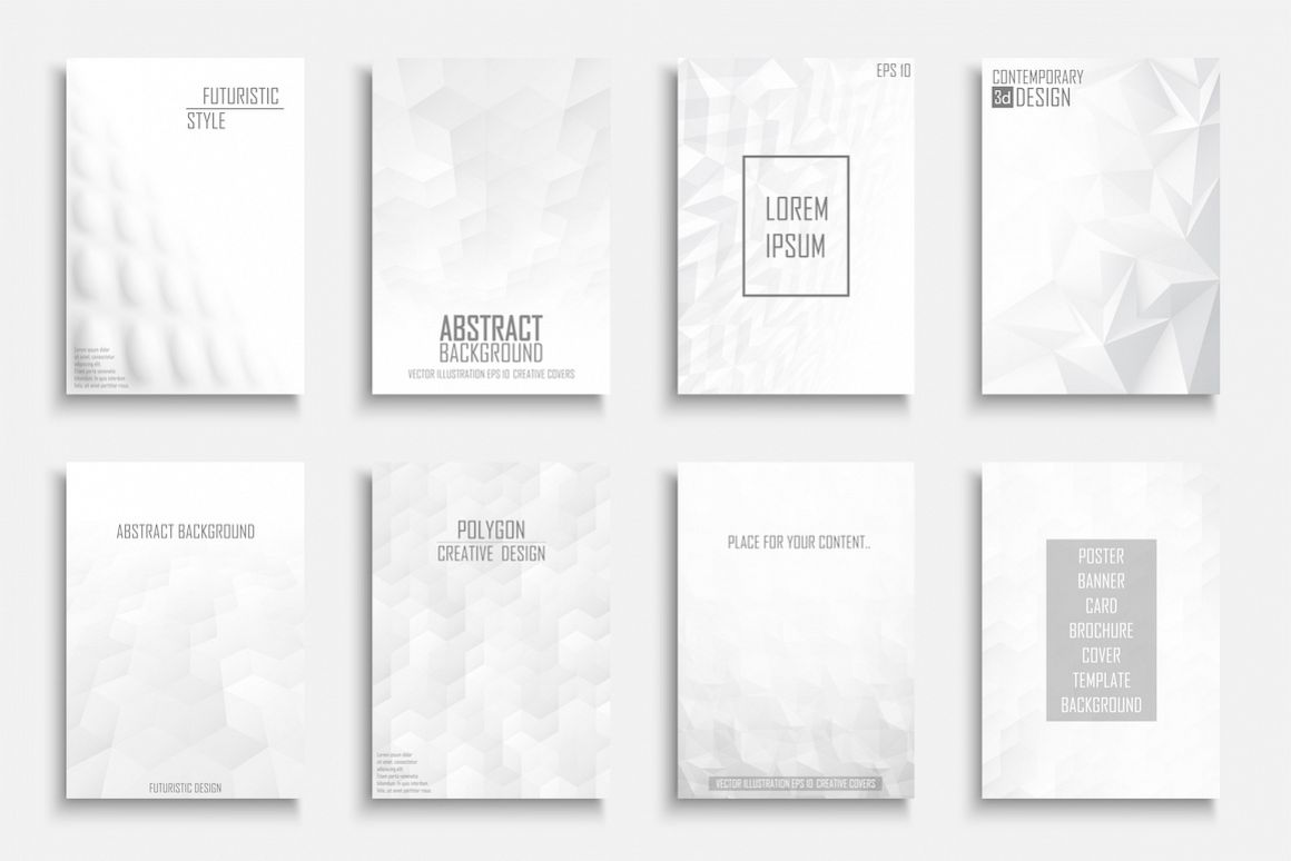 White abstract futuristic posters example image 1