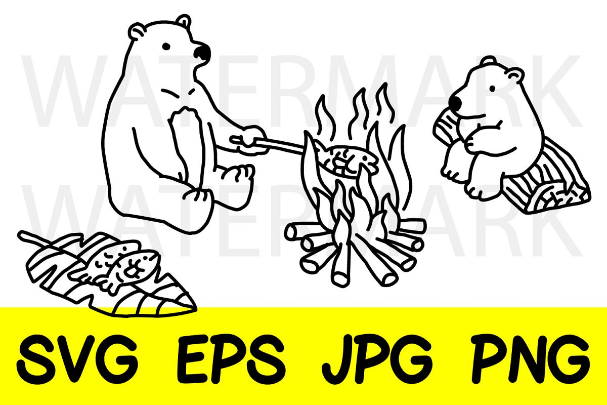 Bear with bear cub Grilling Fish -SVG-EPS-JPG-PNG example image 1