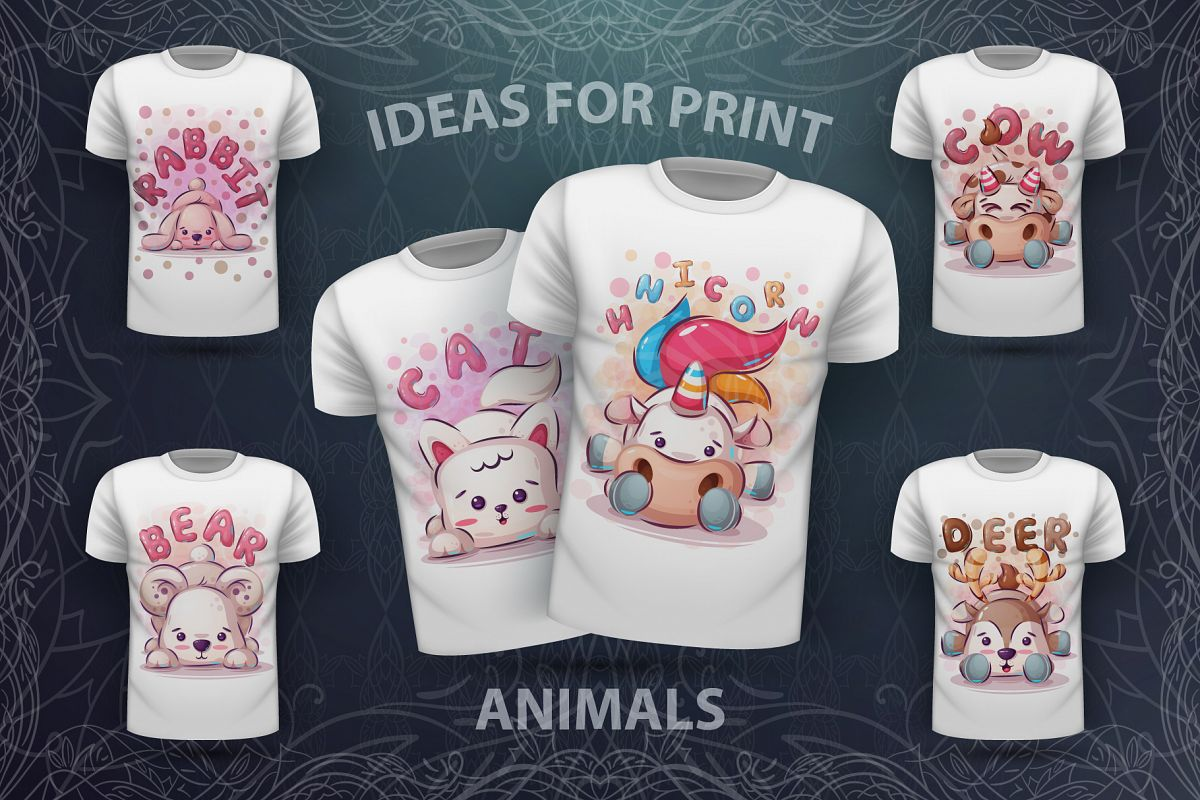 Set cute animals - for print t-shirt example image 1