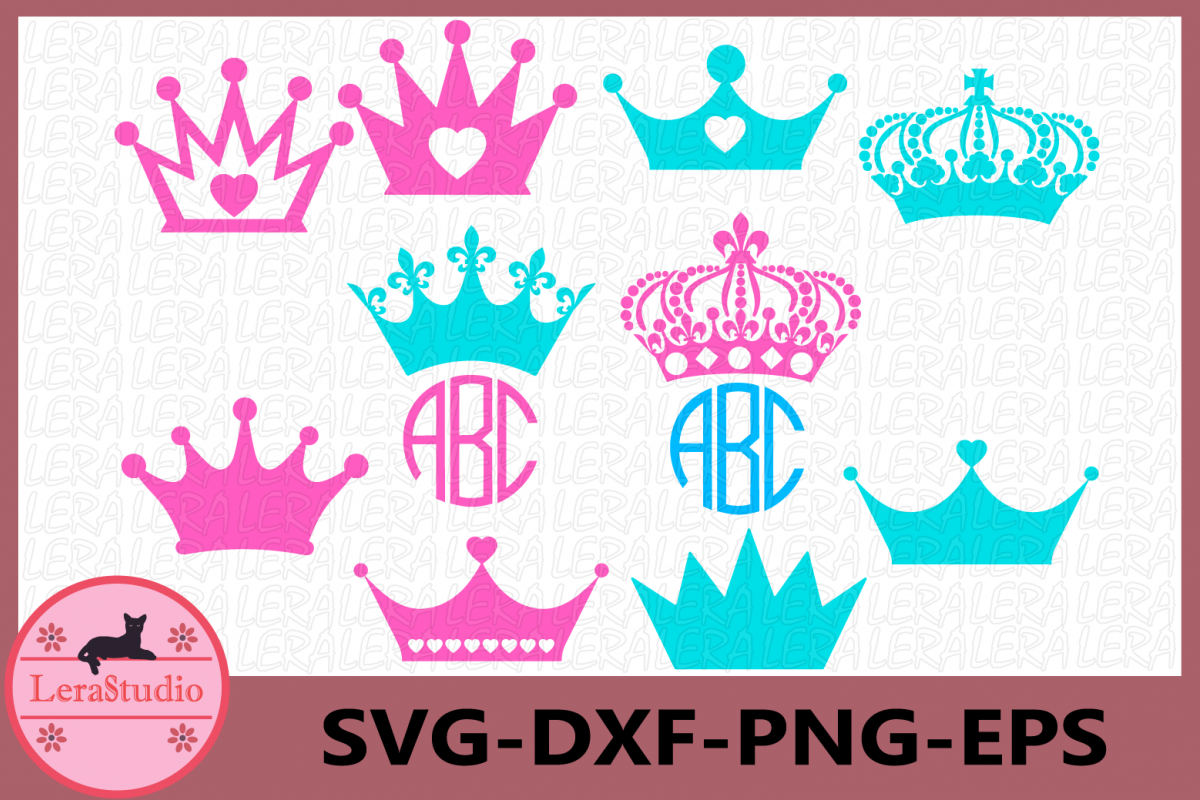 Crown Svg, Crown Monogram svg, Crown Princess Silhouette svg example image 1