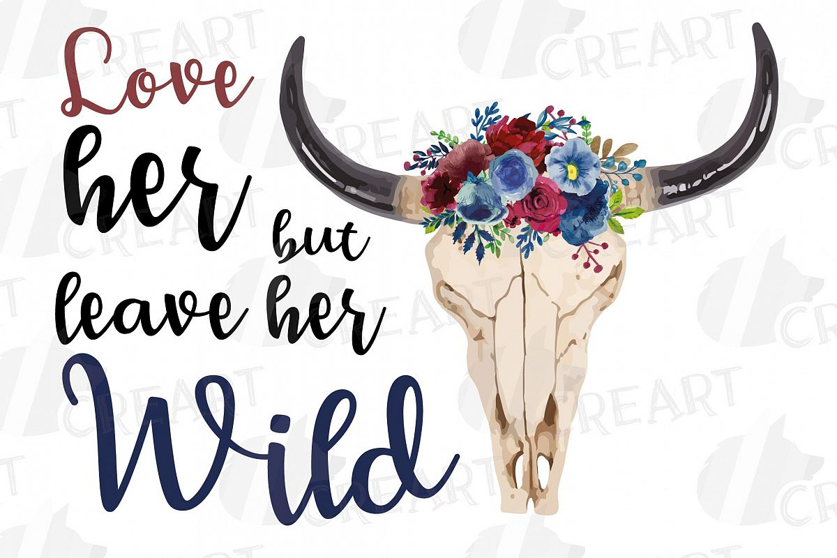 Watercolor Floral Bull Skull clipart, Indian Tribal vector example image 1