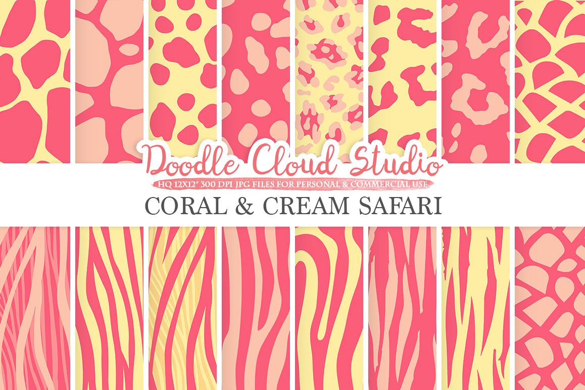 Coral and Cream Animal Safari digital paper, Fur pattern, Giraffe Zebra Leopard Snake Tiger backgrounds for Personal & Commercial Use example image 1