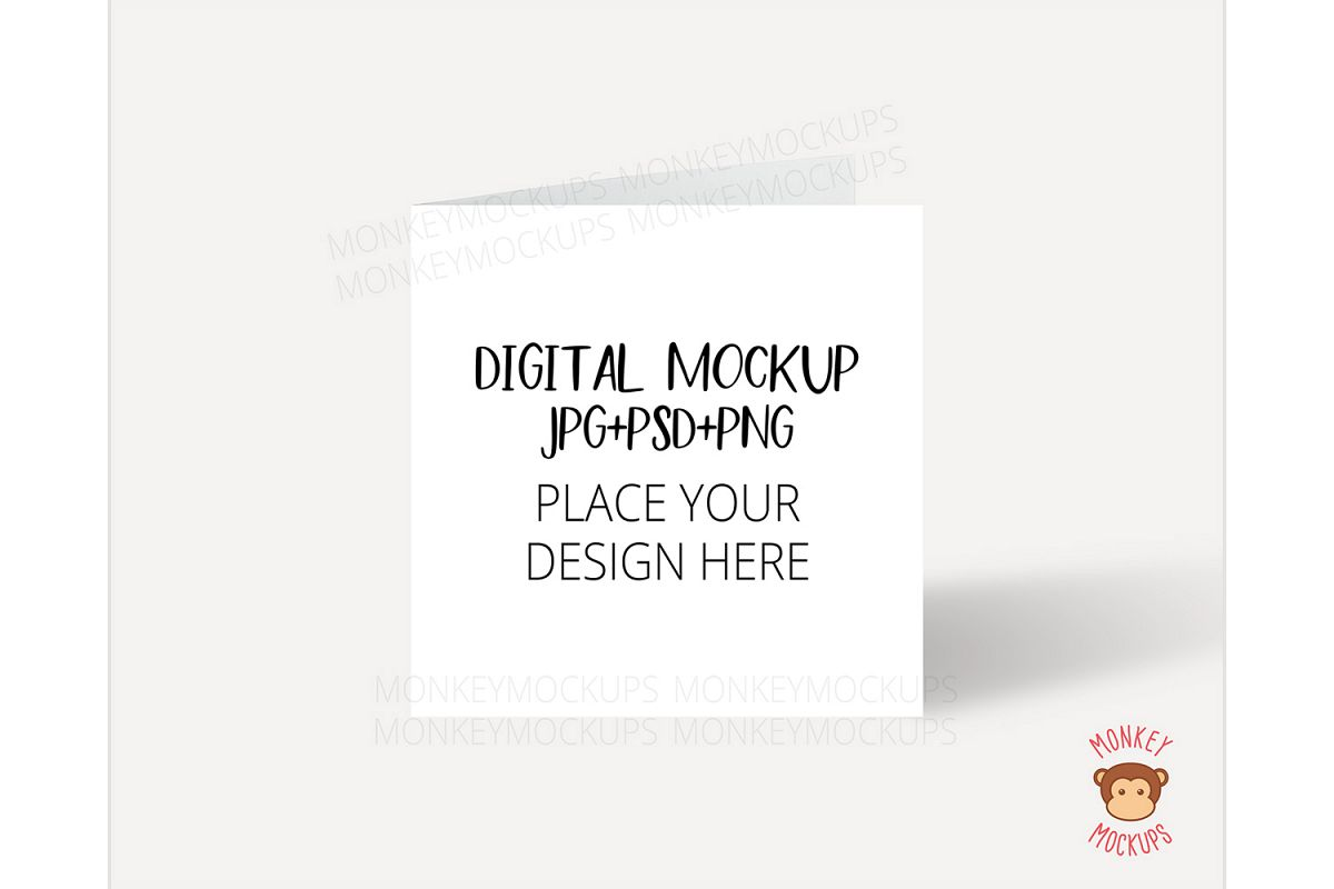 Square Card Mockup - JPG PNG PSD Smart Object example image 1