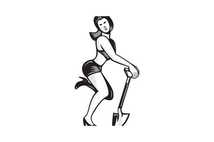 Pin-up Girl With Shovel Spade Retro example image 1