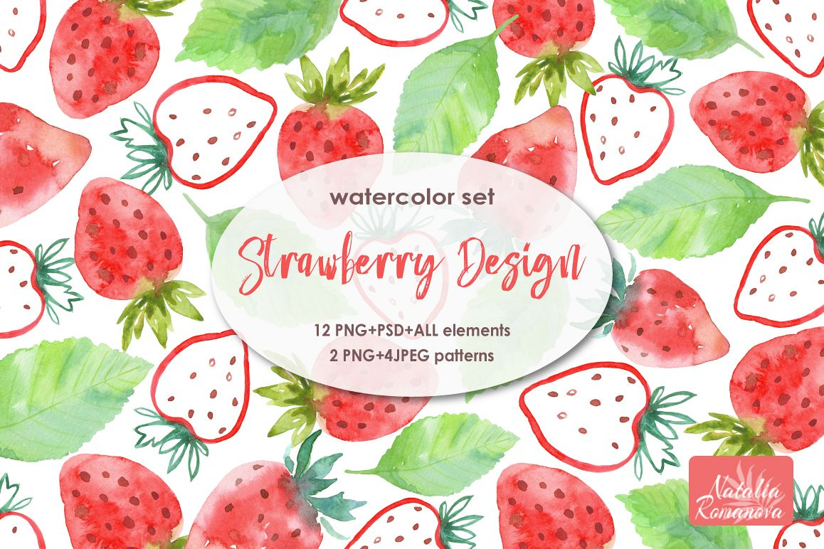 Strawberry watercolor design example image 1