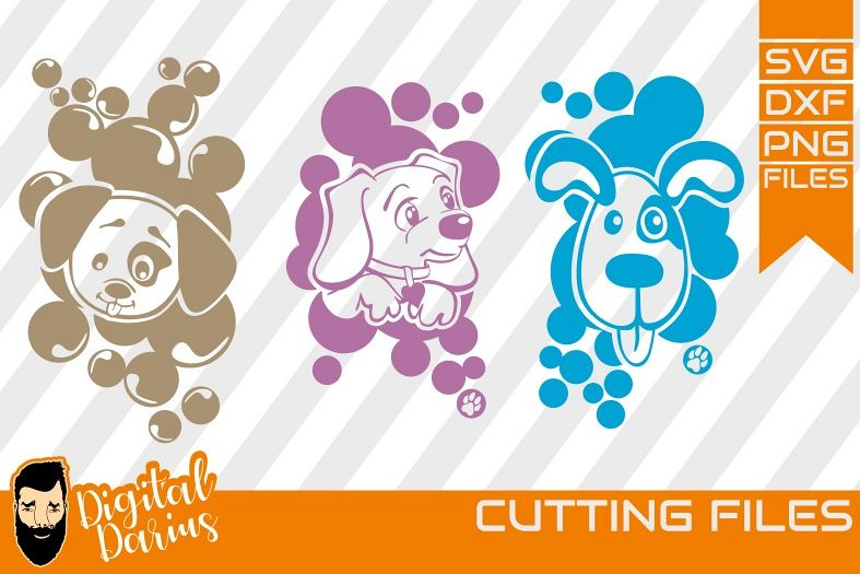 3x Sweet Dog svg, Mongrel, Puppy, Doggy, Cut File, Animals example image 1