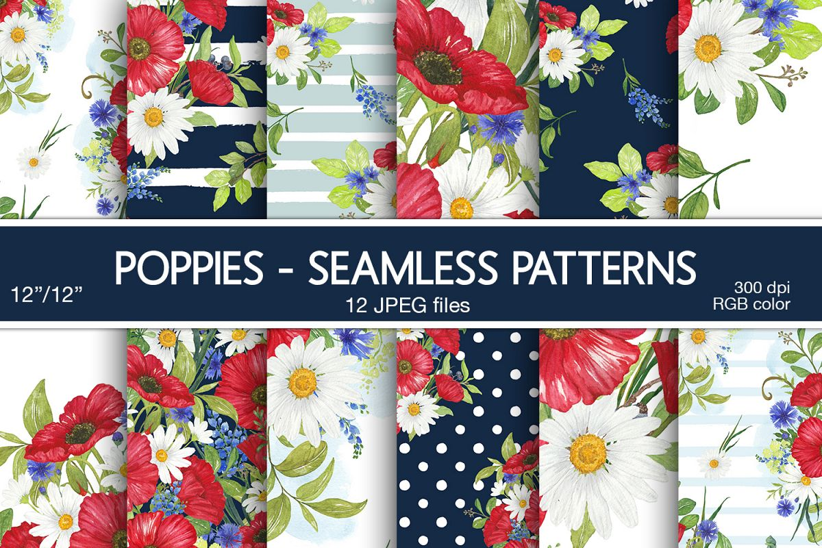 Poppies Digital Papers Floral Seamless Patterns example image 1