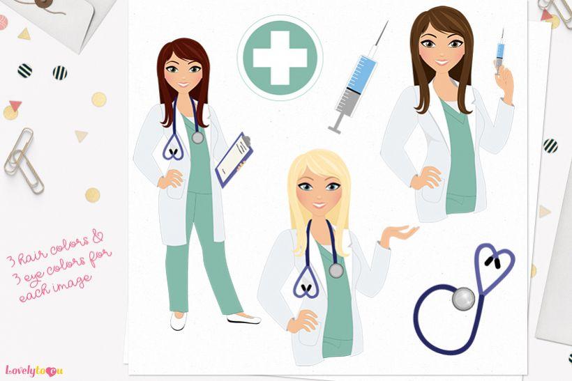Nurse woman character clip art L395 Zara example image 1